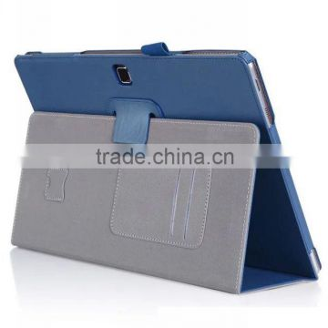 Leather book case for Samsung Galaxy Tab Pro S with Elastic Hand Strap, Card Holder, stylus