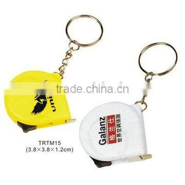 Wholesale custom logo printed plastic tape measure keychain