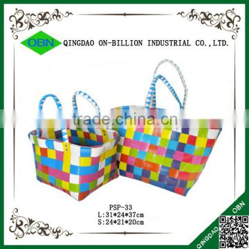 Cheap reusable and durable PP woven shopping basket for sale