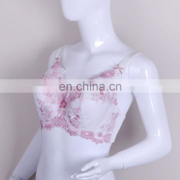 2015 Sweet Full Cup Sexy Mature Ladies Pink Transparent Lace Bra