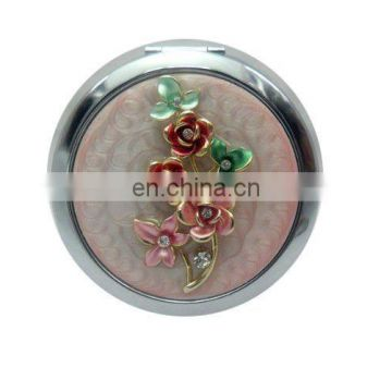 China Golden Supplier Offer New Design Cz Crystal Top Grade Lady metal pocket fashion mirror