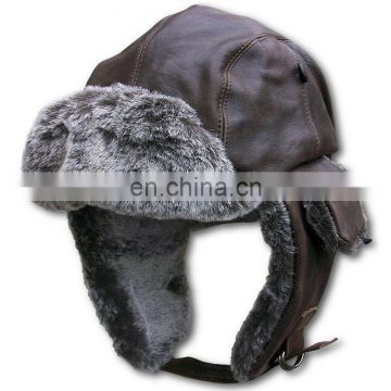 Winter Plush and Leather Warm Earmuffs Hat and Caps