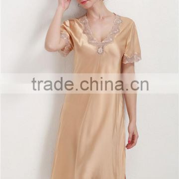 Elegant Silk Satin Chemise Sleeping Dress Short Sleeve with Lace Silk Home Night Wear Expert
