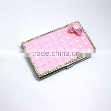 Pink bow tie luxury business card id card holder shinning crystal pink bow tie luxury business card id card holder shinning crystal rhinestone business card case colourmoves