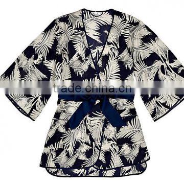 Cheap Custom Sexy Woman short 100% Pure Printed Silk Charmeuse Night Sleeping Kimono Robe with Side Pockets