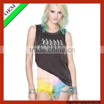2015 t-shirt cotton printing t-shirt Women sleeveless T-shirt OEM