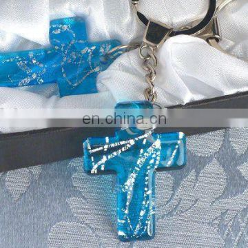 Murano Art Deco Blue Cross Key Chain Party Favors