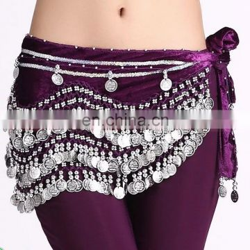 Y-2005 Indian 256 silver coins performance velvet belly dance hip scarf with multy color