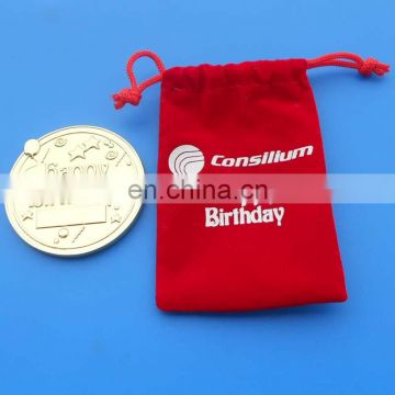 personalized gold coin, happy birthday gift coin design, metal souvenir coin in red velvet pouch