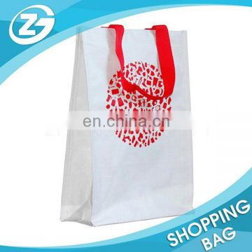 Custom White Wine Bottle Carry PP Woven Bag with Red Color Print