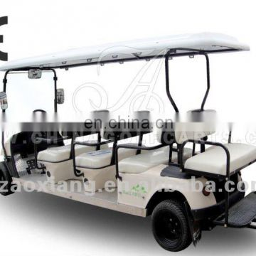 New arrival: Cheap electric carts for sale, 12 seater electric sightseeing cars with rear seat kit or rear cargo box
