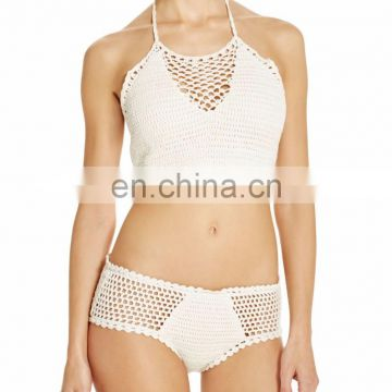 Ivory Cotton Crochet Teeny Bikini Bottom Swimwear