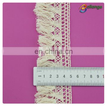 Hot sale colorful cloth trims 100% cotton vintage lace with fringes