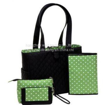 Black diaper bag set with waterproof polyester fabric