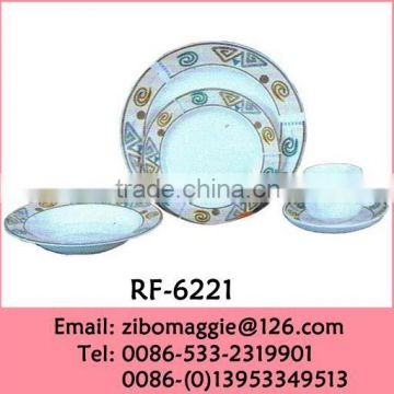 Elegant Flower Designed Promotion Round Fine Ceramic Dinnerware for Gift