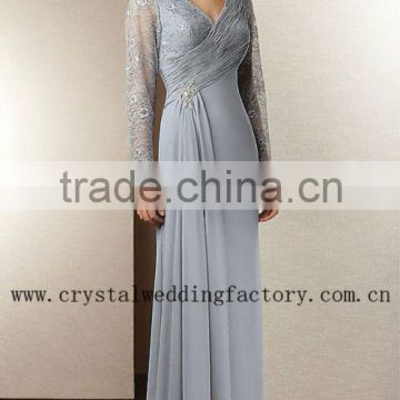 2013 long sleeve grey appliqued V-neckline lace ruched floor length custom-made mother of the bride dresses CWFam4658