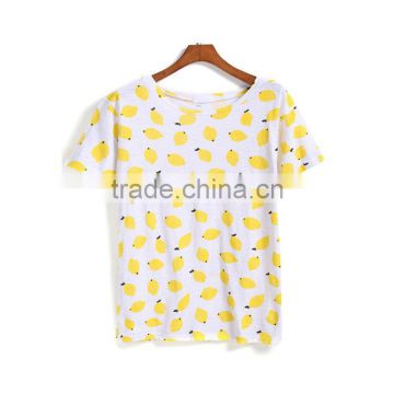 Dongguan cheap t-shirt short sleeve round neck yellow print t-shirt for ladies