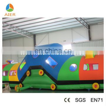 Fun PVC material Inflatable train obstacle castle for kids