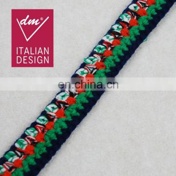 Fashion design multicolor braided polyester tape ribbon