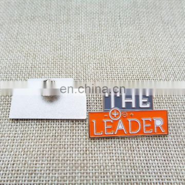 Diecut Shape Metal Silver Tone Soft Enamel The Leader Lapel Pins