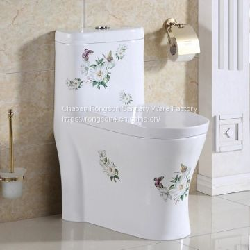 Simple color modern good sale decal one piece siphonic ceramics toilet wc