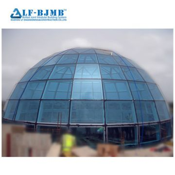 Light Steel Frame Modular building Glass Dome Skylight Roof Construction Glass Atrium Roof