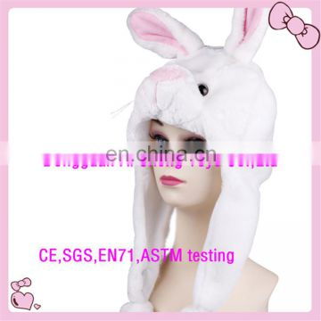 Custom high quality soft plush hat animal rabbit shape