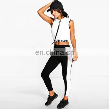 Crop top with pants 2 piece suit women clothing sports wear