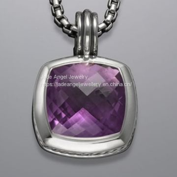 Sterling Silver DY Designs Inspired 17mm Amethyst Albion Pendant