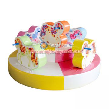 Zhongshan amusement park equipment indoor Kidsland carousel Rotating Animal play center Soft playground merry go round