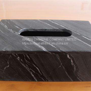 Black Wooden Marble Bathroom Paper Holders Marble Tissue Box