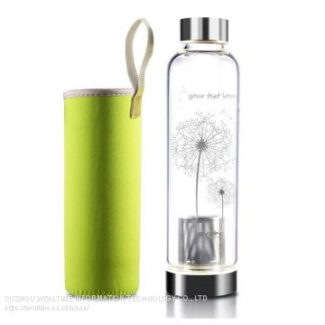 Glass Water Bottle With Tea Filter 500ml With Sleeve