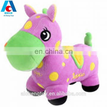 high quality plush stuffed toys purple standing position horse