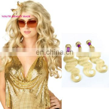 Youth Beauty The Most Popular #613 bleach blonds cheap virgin brazilian remy body wave human hair weaving