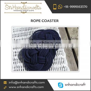 Handmade Navy Blue Colored Rope Coaster Easy to Use Vintage Design