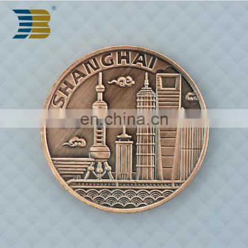 cheap custom die casting souvenir copper coin with scenery of the bund