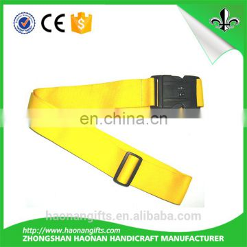 Polyester custom 5 cm width luggage belt with plastic strong buckle luggage straps