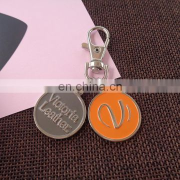 supermarket keyring with two coin trolley coin keychain