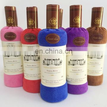 high quality cake gift towe 100%cotton wine bottle towel cake towel