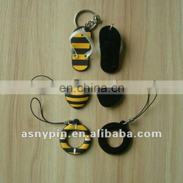 PVC bees/ flip flops design rubber phone charms with screen cleanner