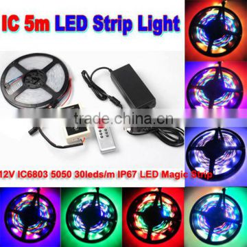 5M IC6803 Dream Color Addressable 5050 SMD RGB LED Strip 133 Color+RF Remote+4A adapter kit