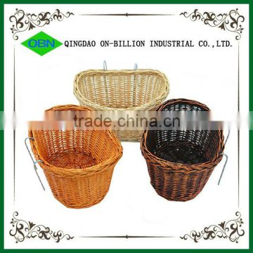 Wholesale vintage removable wicker bicycle front basket