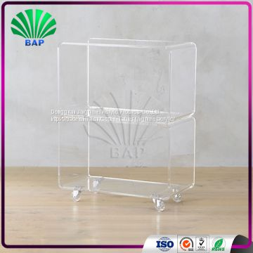 Popular Clear Trolley Restaurant Serving Trolley Cart Hotel Lucite Coffee Cart Of Acrylic