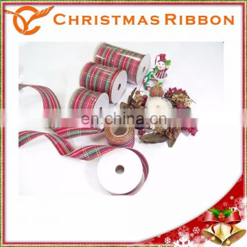 Wintery Pattern Wired Christmas Nastro For Ornaments Tree