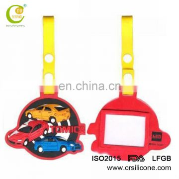 Wholesale cheap price bulk soft pvc silicone luggage tags with slip ring insert