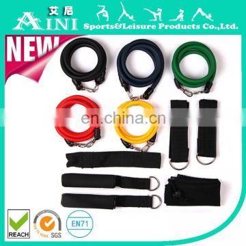 2017 OEM ANY-005 Newest 11 PCS Latex Resistance Bands Exercise Gym Set