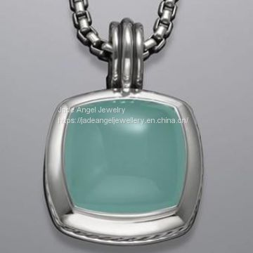 Sterling Silver DY Designs Inspired 17mm Chalcedony Albion Pendant