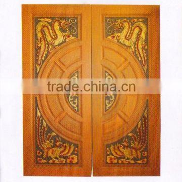 Dragon Swan Wood Engraving Solid Wood Double Door Real Thai Teak
