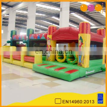 aoqi inflatable ICowboy Fence obstacle game inflatable bouncer house interactive playground equipment for kid