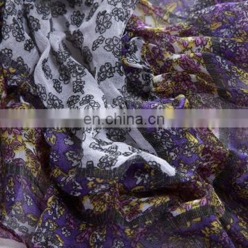 2015 Newest style fashion design polyester voile pleating pashmina(WX025AL)